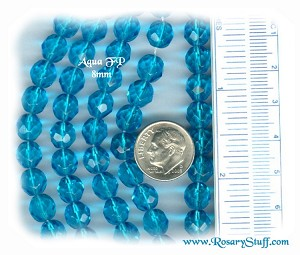 Custom Aquamarine 8mm Fire Polished Czech Glass ROSARY