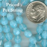 Aquamarine (Milky) Firepolished Czech Glass Beads 6mm
