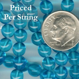 Aquamarine Round Czech Glass Beads 6mm