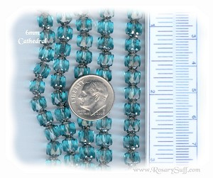 Custom Aqua/Silver 6mm Czech Glass Cathedral ROSARY
