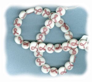 Breast Cancer Awareness Pater Beads (White Chinese Glass) 11mm