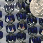 Cobalt Blue/Silver Czech Glass Cathedral Beads 8mm