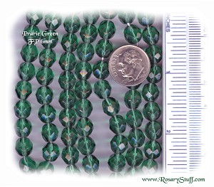 Custom Prairie Green 8mm Fire Polished Czech Glass ROSARY