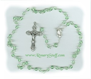 Birthstone: August Czech Glass Rosary ~ PERIDOT