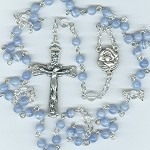 Dark Blue Lace Agate and Quartz Rosary ~ Immaculate Heart