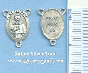 Saint Peregrine Oval Rosary Center (Cancer) ~SP~ 7/8 in