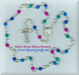 Dark Neon Multi-Colored Czech Glass Rosary ~ Holy Family