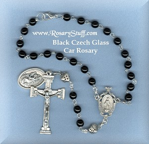 Jet Black Car Rosary with Metallic Dice and St Christopher Medal