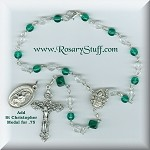 Emerald Green Czech Glass Car Rosary ~ May Birthstone