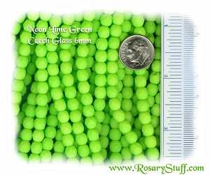 Custom Neon Lime Green 6mm Fire Polished Czech Glass ROSARY