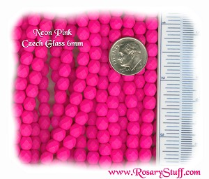 Custom Neon Pink 6mm Fire Polished Czech Glass ROSARY