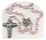 Pink Faceted Fire Polished Car Rosary