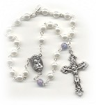 White Pearl & Light Sapphire Car Rosary