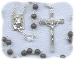 Matte Jet Black Rosary with AB Cube Paters