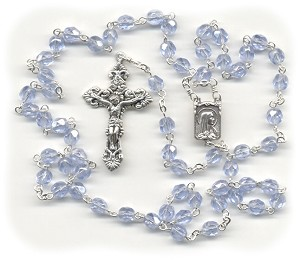 Luster Light Sapphire Blue Glass Rosary