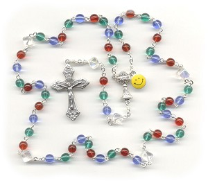 First Communion Rosary ~ Red, Blue & Green