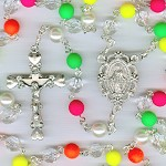 Neon Multi-Colored Czech Glass Rosary