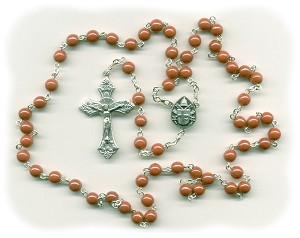 Luster Opaque Orange Round Glass Rosary