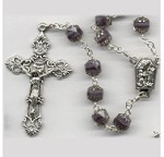Amethyst-Crystal/Silver Glass Cathedral Rosary