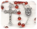 Siam Ruby Red Round Glass Rosary