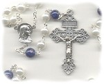 White Pearl and Cobalt Blue Glass Rosary