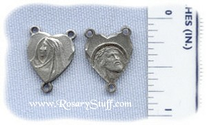 Sorrowful Mary Heart Center with Tear ~ Pewter ~ 1/2 in.