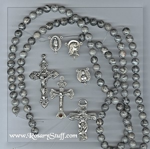 Cusom Gray Crazy Lace Agate Stone ROSARY