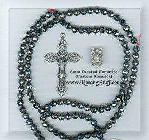 Custom Faceted Hematite 6mm STONE Rosary