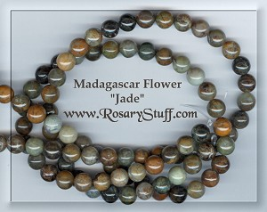 Custom Madagascar Flower Jade 8mm Stone ROSARY