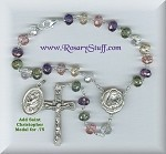 Luster Gemstone Multi Colored St Therese Relic Car Rosary