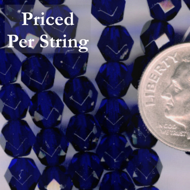 Cobalt Blue Firepolished Czech Glass Beads 6mm