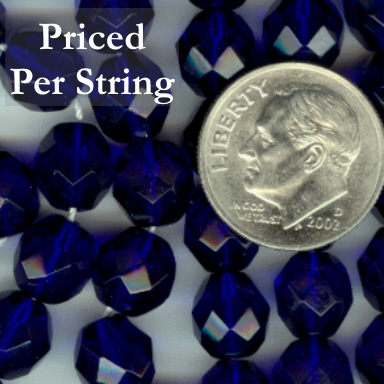 Cobalt Blue Firepolished Czech Glass Beads 8mm