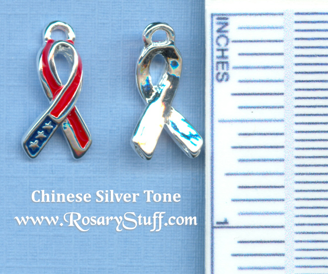 USA Patriotic Red White & Blue Awareness Ribbon Charm