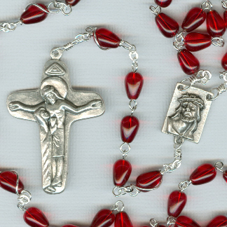 Blood of Christ Czech Glass Rosary