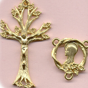 Tree of Life Rosary Set ~ Gold Plate