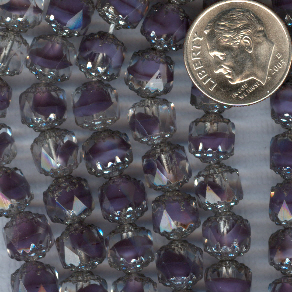 Custom Amethyst-Crystal/Silver 8mm Czech Glass Cathedral Rosary