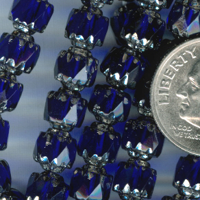 Custom Cobalt Blue/Silver 6mm Czech Glass Cathedral Rosary