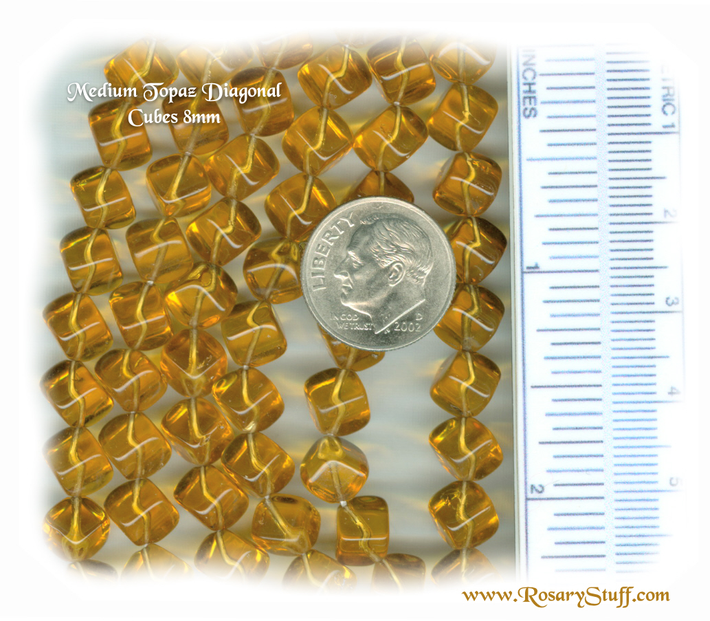 Custom Topaz (Medium) 8mm Czech Glass Diagonal Cube Rosary
