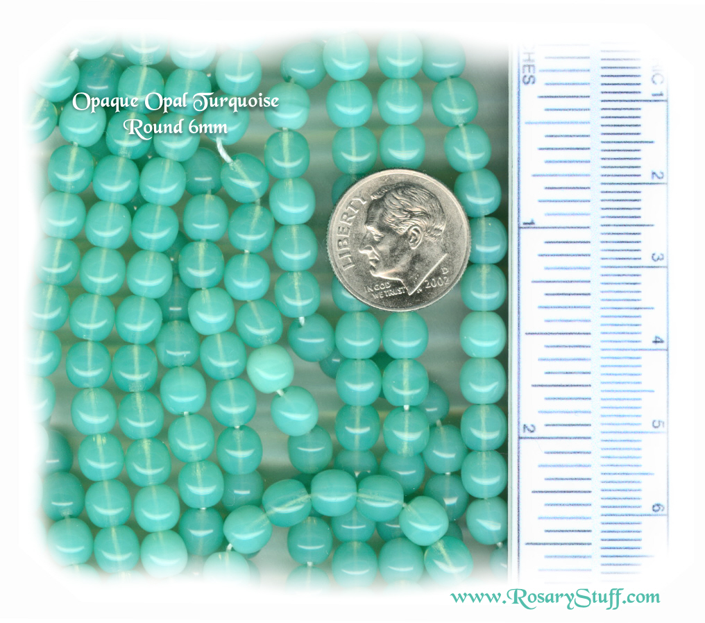 Custom Turquoise Opal Opaque 6mm Round Czech Glass Rosary