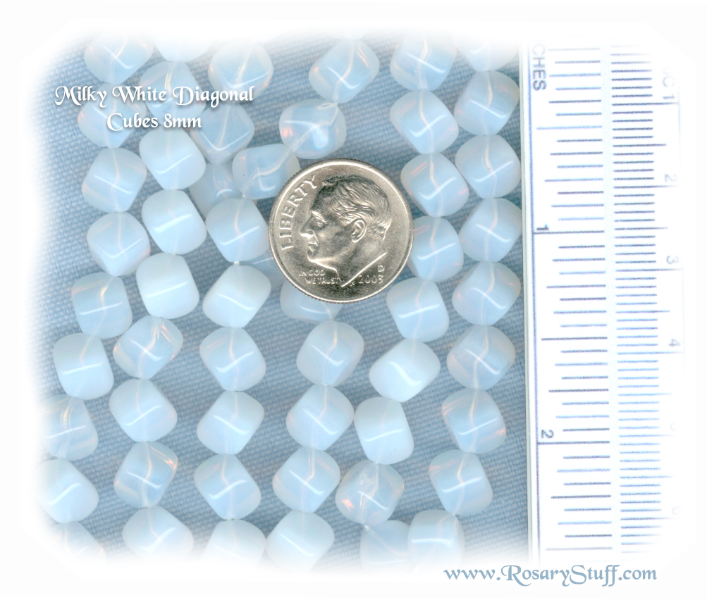 Custom White Milky 8mm Czech Glass Diagonal Cube Rosary