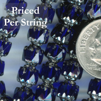 Cobalt Blue/Silver Czech Glass Cathedral Beads 6mm