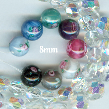 Handmade Czech Glass Pater Beads with Roses 8mm