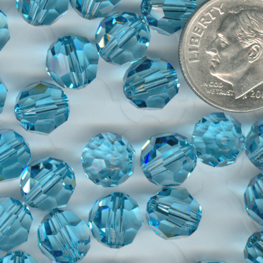 Custom Aquamarine Swarovski Crystal Rosary ~ 8mm Beads
