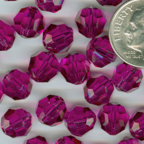 Custom Fuchsia Swarovski Crystal Rosary ~ 8mm Beads