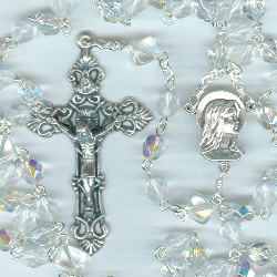 Birthstone: April Czech Glass Rosary ~ DIAMOND