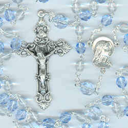 Birthstone: December Czech Glass Rosary ~ BLUE ZIRCON