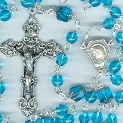 Birthstone: March Czech Glass Rosary ~ AQUAMARINE
