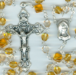 Birthstone: November Czech Glass Rosary ~ TOPAZ