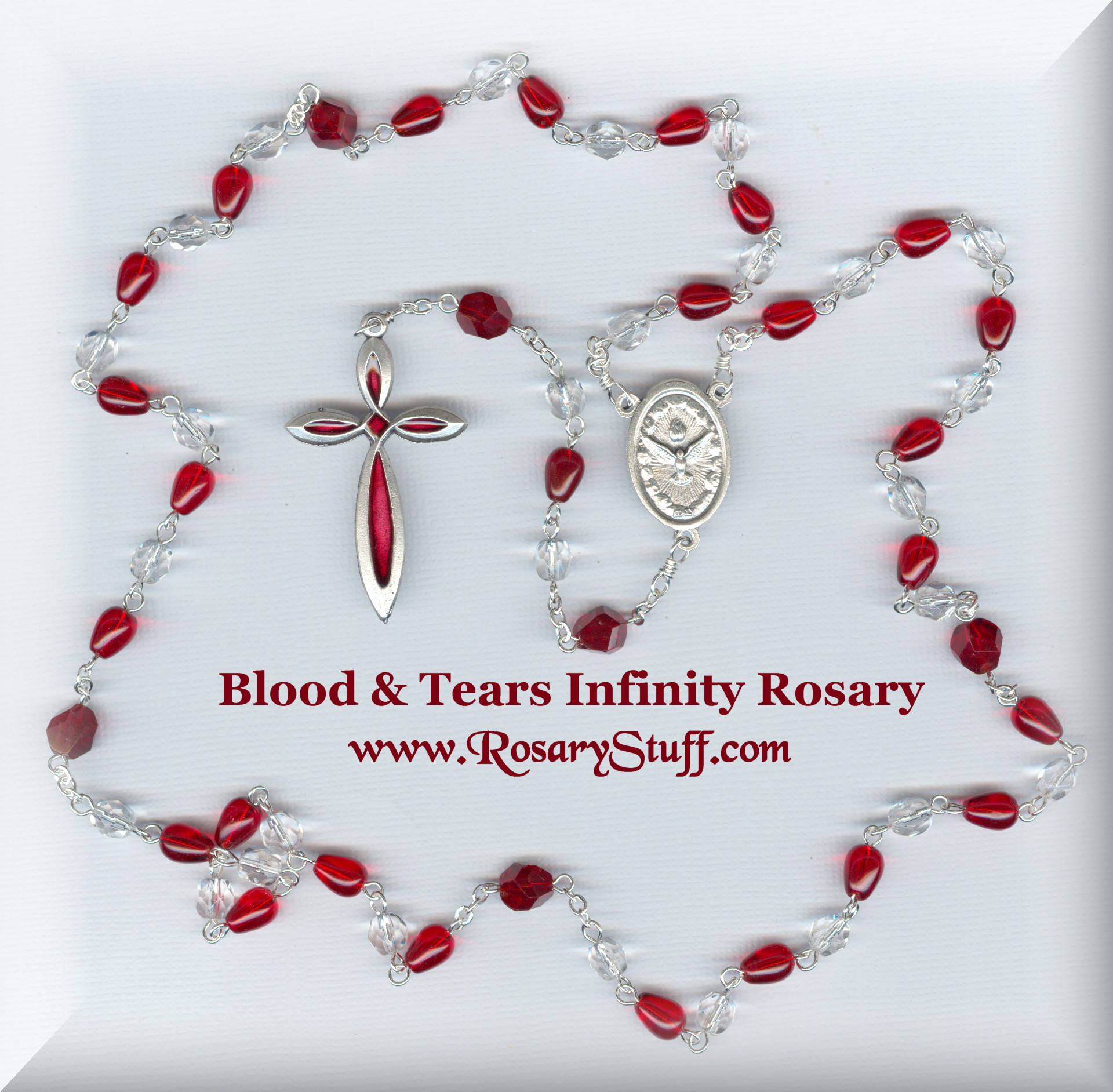 Blood and Tears Czech Glass Infinity Rosary