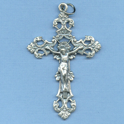 Fleur-de-Lis Large (New Version) Crucifix 2 1/4 in.